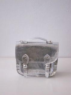 silver satchel bag