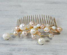 Gold White Bridal Hair Comb Wedding Hair by PrettyNatali on Etsy