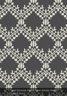 Leaf Damask Fabric from Aimée Wilder in Noir