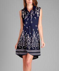 Love this Blue & White Arabesque Button-Front Tulip Tunic - Plus on #zulily! #zulilyfinds