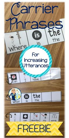 Phrases for Increasing Utterances - Sentence Starters with Visuals FREE FREE carrier phrases ready for you to print and laminate for increasing utterances in your therapy room! Preschool Speech Therapy, Speech Activities, Speech Pathology, Speech Language Pathology, Speech And Language, Preschool Language Activities, Halloween Speech Therapy Activities, Aba Therapy Activities, Speech Therapy Autism