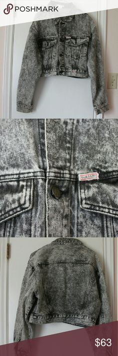 Vintage acid wash guess jacket large Vintage black acid wash guess denim jacket Size large 80s vintage Great condition! Aside from very small marks on sleeve but unoticable Jacket fits oversized depending on your size Guess Jackets & Coats Jean Jackets