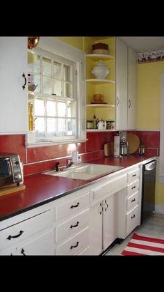Red Kitchen Accents   Vintage Red Laminate Counter And Backsplash In An  Original Kitchen   Via Atticmag