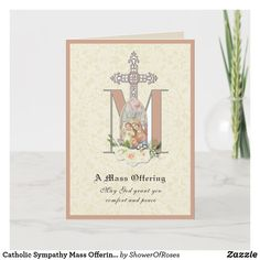 Catholic Sympathy Mass Offering Virgin Mary Card Catholic Funeral, Catholic Mass, Cross Symbol, Mary And Jesus, Blessed Virgin Mary, Plant Design, Custom Greeting Cards, Thoughtful Gifts, Christmas Cards