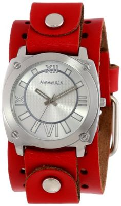 Nemesis Women's RGB066S Roman Numeral Collection Silver on Red Leather Band Watch -