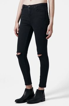 Topshop Moto 'Jamie' Dark Wash Ripped Slim Jeans (Black) (Short & Regular)  As seen on Perrie Edwards in Little Mix for Text Santa