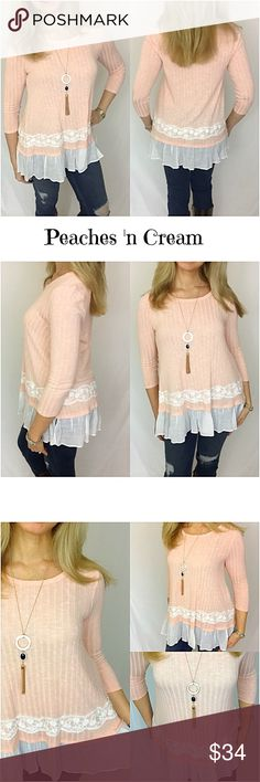 """Peaches 'n Cream Lace Ruffle Tunic SML Lovely peach tunic with ivory lace detail & ruffle hem. Doesn't get much prettier than this. Soft, feminine, flowy & stretchy. Flattering mid-section (yay). Dress up or down. Pair with leggings or your favorite jeans/pants. Polyester - rayon - spandex.   Small Bust 32-34-36 Length 27"""" Medium Bust 38-40 Length 27.5"""" Large Bust 42-44 Length 28"""" Tops"""