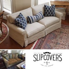 Amazing This Sofa #slipcover Received A Remarkable #makeover Yesterday! With Two  New Seat Cushions