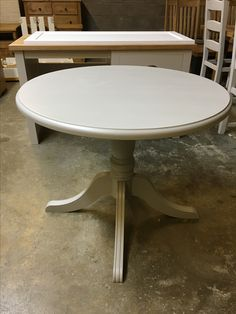 A Traditional Round Pedestal Table Painted In Fu0026B Purbeck Stone. Cobwebs Furniture  Company.