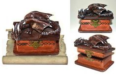Dragon jewellery box wooden box polymer clay dragon brown