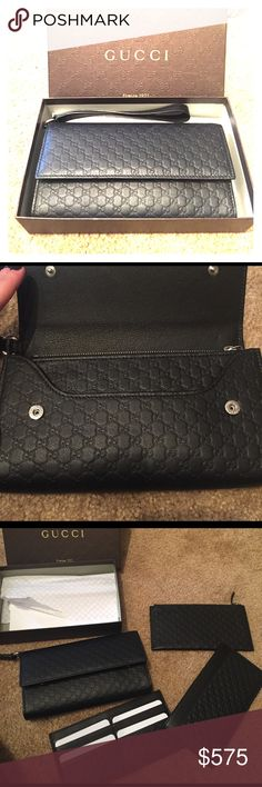 Beautiful Gucci wristlet New in Box! Black 10x6 new in box beautiful piece! Comes with 3 removable pieces for money/ cards/ etc Gucci Bags Clutches & Wristlets