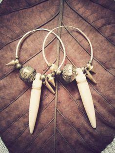 TRIBAL HOOP earrings  golden hippie boho indie by SiamicWear
