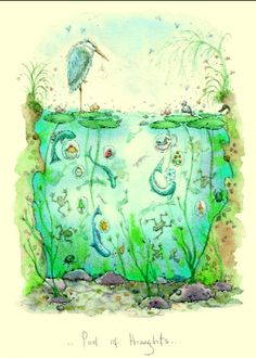 Pools of Thought - A Two Bad Mice card by Fran Evans Children's Book Illustration, Illustration Pictures, Anita Jeram, Evans Art, Penny Black Stamps, Love Painting, Cat Art, Contemporary Artists, Art Images