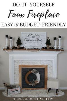 DIY faux fireplace project #diy #fauxfireplace #mantel #homedecor #modernfarmhouse #farmhouse