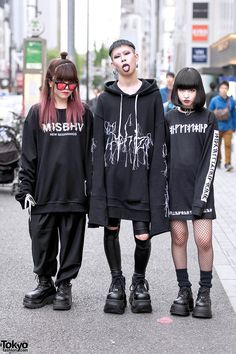 "tokyo-fashion: "" Kasumi Cham and Baek in monochrome fashion on the street in Harajuku. Kasumi is wearing a MISBHV sweatshirt from Never Mind the XU with pants and boots also from XU. Tokyo Fashion, Urban Street Fashion, Fashion 90s, Japanese Street Fashion, Harajuku Fashion, Dark Fashion, Grunge Fashion, Gothic Fashion, Korean Fashion"