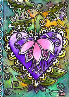 BATIK #200 FLORAL HEART FUSCHIA BLOSSOM by Margaret Storer-Roche