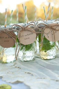 5 DIY Wedding Favor Ideas: serve guests your signature cocktails in Mason jars decorated with chalkboard labels or hang-tags bearing your stamped monogram and wedding date