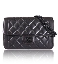 Chanel Lamb Skin So Black Classic Shoulder Bag Rare