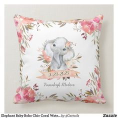 Shop Elephant Baby Boho Chic Coral Watercolor Throw Pillow created by Personalize it with photos & text or purchase as is! Elephant Baby Rooms, Elephant Themed Nursery, Baby Elephants, Safari Nursery, Baby Nursery Themes, Nursery Room, Girl Nursery, Nursery Ideas, Boho Nursery