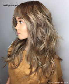 50 Cute and Effortless Long Layered Haircuts with Bangs Long Layered Haircut With Cropped Bangs Layers And Bangs, Layered Haircuts With Bangs, Long Hair With Bangs, Haircuts For Long Hair, Long Hair Cuts, Hairstyles With Bangs, Wavy Layers, Hair Bangs, Hairstyles 2018