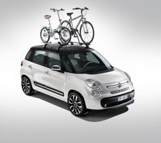 2012 Fiat with roof rack and bikes. Fiat 500l, Fiat Abarth, New Upcoming Cars, New Fiat, Bike Rack, Roof Rack, Sexy Cars, Driving Test, Cars And Motorcycles