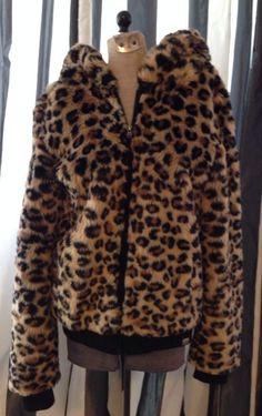 Victorias Secret Pink Fashion Show RARE Leopard Faux Fur Hoodie s Thick Warm   eBay