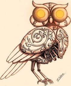 Steampunk style is so cool. I did these Owl for a friend's tatoo Steam Punk Owl Steampunk Drawing, Steampunk Bird, Owl Tat, Steampunk Illustration, Owl Rocks, Sword In The Stone, Great Tattoos, Painted Rocks, Cool Art