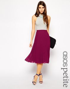 ASOS Petite | ASOS PETITE Midi Pleated Skirt at ASOS