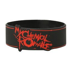 My Chemical Romance Lines Rubber Bracelet Hot Topic ($15) ❤ liked on Polyvore featuring jewelry, bracelets, rubber bangles and rubber jewelry