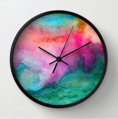 Horloge murale aquarelle décoration moderne horloge par RoveStudio