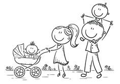 Happy cartoon family with two children walking outdoors, outline - Royalty-free Adulto arte vetorial Doodle Drawings, Doodle Art, Easy Drawings, Stick Figure Family, Family Drawing, Stick Figure Drawing, Love Doodles, Happy Cartoon, Mom Tattoos
