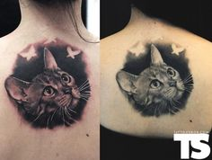 Fresh and healed photos of a cat tattoo by Bojan
