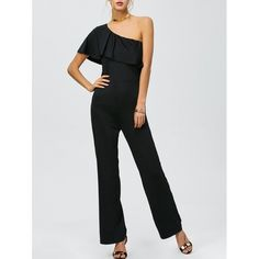 16.28$  Watch now - http://dis8m.justgood.pw/go.php?t=207333501 - One Shoulder Flounced High Waisted Jumpsuit 16.28$