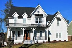 The front porch of this 4 bed farmhouse plan just begs for your rocking chair. Or chairs! Two dormers, a metal shed roof - plus two more over the upper windows - give this home great curb appeal.</li><li>The foyer leads right to the family room and is open to the dining room giving the house a circular flow. Tucked in the front corner of the home is a study behind French doors.</li><li>The kitchen island gives you work space and ...