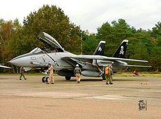 "A USN Grumman F-14 Tomcat of VF-103 ""Jolly Rogers"" Fighter Squadron."