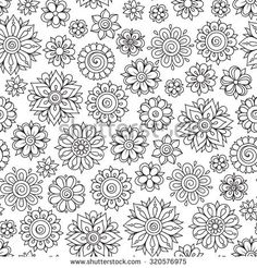 Pattern for coloring book. Ethnic, floral, retro, doodle, vector, tribal design element. Black and white background. Doodle vector background. Henna paisley mehndi doodles design tribal design element