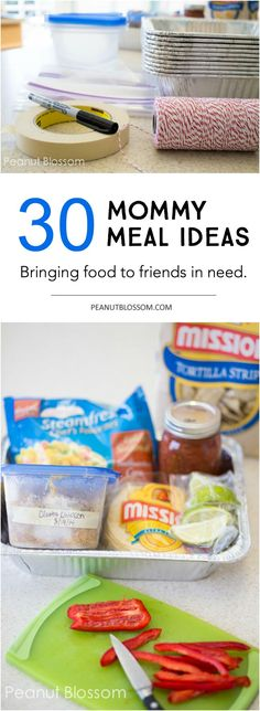 30 days of Mommy Meals ideas: the perfect recipe list for bringing food to a friend who just had a new baby or for church family support. Look beyond the casserole and check out these delicious mom-approved ideas for helping to feed their families! Great ideas for food that travels well.