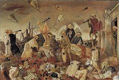 1944, death triumphant, memento mori, holocauust art, holocaust art, felix nussbaum, artist, skeleton, dance