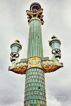 "Paris Photograph ""Green Lamp Post"" Wall Art for sale by #ForTheLoveOfWallArt.  #parisphotography #dreamyart #wallart #parisprints #parisdecor #frenchdecor #fineartphotography"