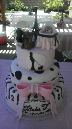 Paris baby shower cake