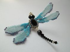 Blue Dragonfly Brooch Beadwoven Jewelry by MilenasBoutique on Etsy, $40.00