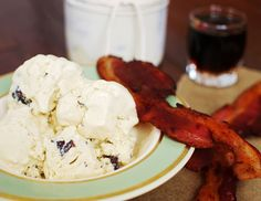 Maple coconut milk ice cream with bits of chocolate covered bacon.