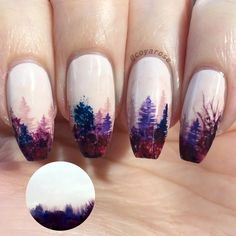 Foggy treeline purple nails