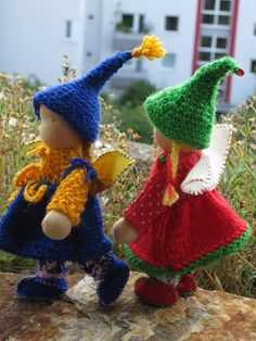Fairy sisters by Puppenliesl, via Flickr use peg dolls and felt and crochet?