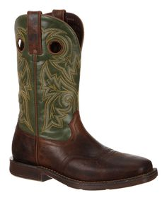 Dark Brown & Green Stitched Leather Western Boot - Men