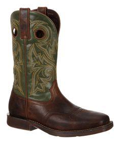 Dark Brown & Green Stitched Leather Western Boot - Men