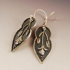 Fuchsia Bud Earrings | ©2012 Vickie Hallmark | Argentium sterling and fine silver, fused