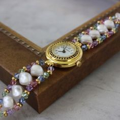 Items similar to Pearl Watch Bracelet Pastel Pink Green Blue Bracelet Watch Lavender Beaded Watch Band Office Fashion on Etsy Punk Jewelry, I Love Jewelry, Beaded Jewelry, Handmade Jewelry, Jewelry Design, Jewelry Making, Woven Bracelets, Jewelry Bracelets, Bracelet Making