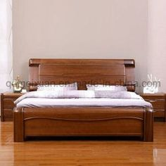 Solid Wooden Bed Modern Double Beds picture from Qingdao Yuhang Household Products Co. view photo of Wood, Solid Wooden, Double Beds.Contact China Suppliers for More Products and Price. Wood Bed Design, Bedroom Bed Design, Bedroom Furniture Design, Bed Furniture, Sofa Design, Bedroom Ideas, Diy Bedroom, Bed Designs In Wood, Bedroom Designs