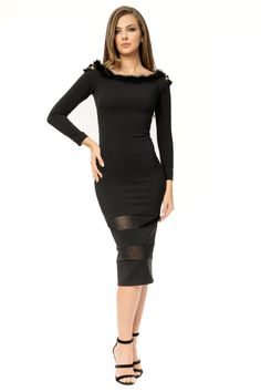 Long sleeved 3/4 bodycon party dress-  clasic beuty Rochie petrecere (Revelion)